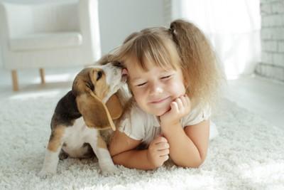 少女の顔を舐める子犬