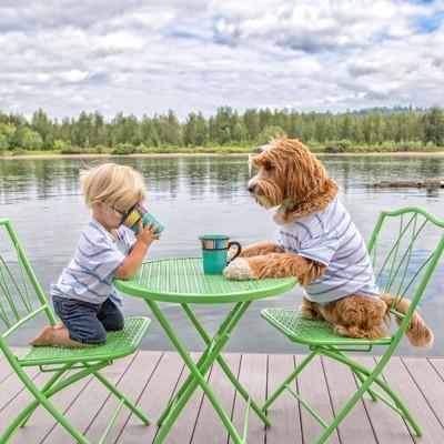 椅子に座る犬と子供