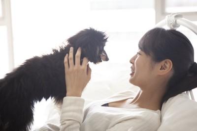 ベッドで休む女性の胸の上に乗る犬