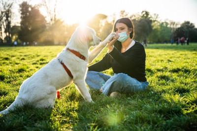 犬と遊ぶマスクを着けた女性