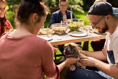 食事をしている人の足に手をかける犬