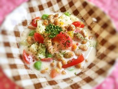 腸を綺麗に♪納豆とヨーグルトのサラダ♪