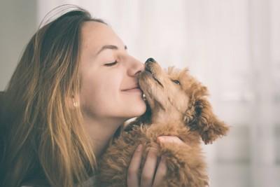 トイプードルにキスをする女性