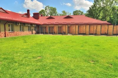 芝生と赤い屋根の建物