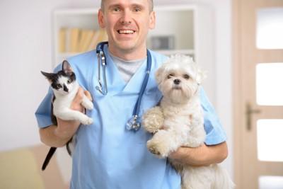 犬を抱えた獣医