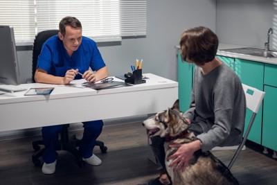 犬を撫でる飼い主に説明をする獣医師