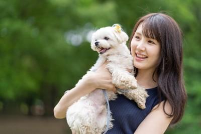 女性に抱っこされた犬
