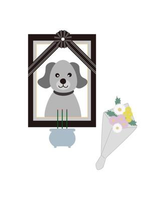 犬の遺影と花