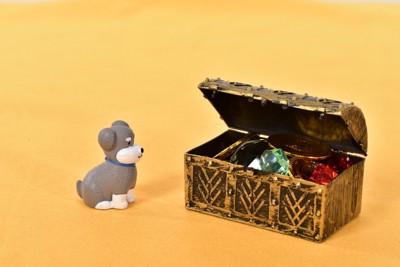 犬の置物と宝箱