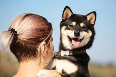 女性に抱っこされる柴犬