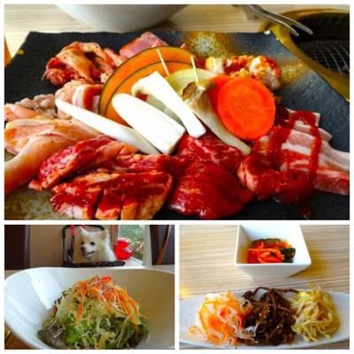 肉とサラダとキムチ