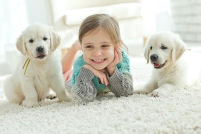笑顔の女の子と2匹の子犬