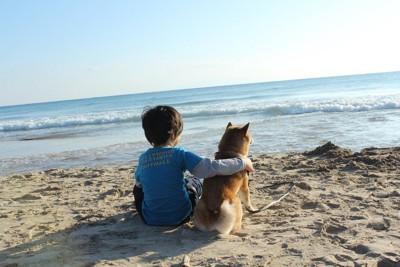 海を眺める男の子と柴犬の後ろ姿