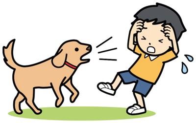 子供に吠える犬のイラスト