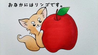 チワワとリンゴのイラスト