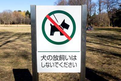 犬の放し飼い禁止の看板