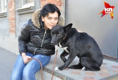 段差に座る女性と犬