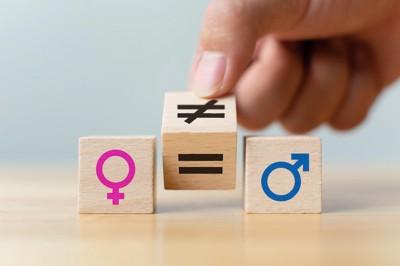 性別の記号が書かれたブロック