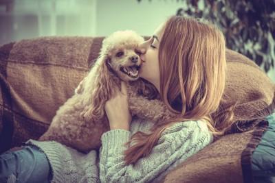 犬とソファーで寛ぐ女性