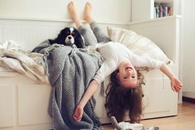 ベッドで遊ぶ女の子と犬