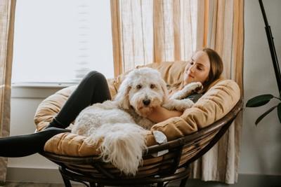 女性の隣で眠ろうとする犬