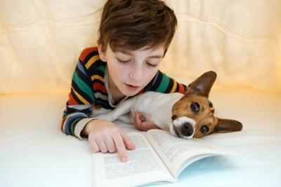 犬と一緒に本を読む男の子