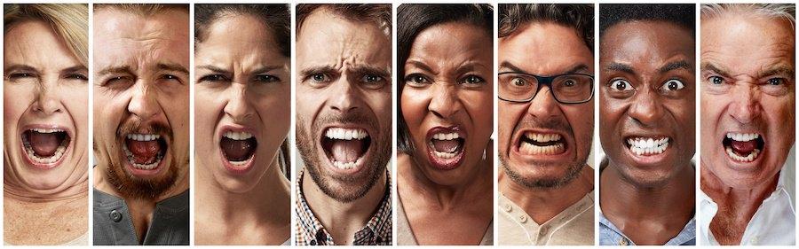 怒りや悲鳴をあげる8人の人々の表情
