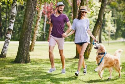 カップルと楽しそうに散歩する犬