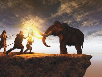 マンモスを狩る石器時代の人々