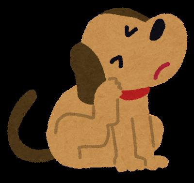 体を掻く犬のイラスト