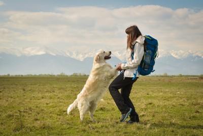 手をつなぐ白い犬とバックパックの女性