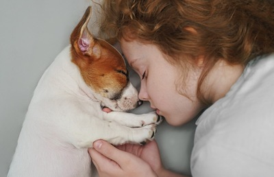 少女と顔を寄せて寝る犬
