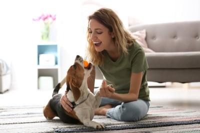仲良しな犬と女性
