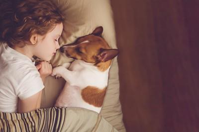 ベットで子供と寝る犬