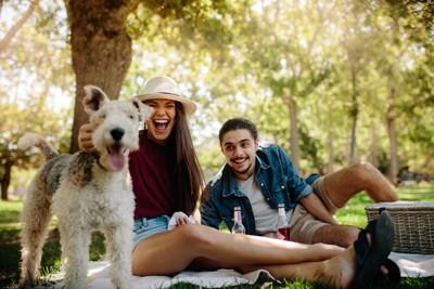 公園で遊ぶカップルと犬