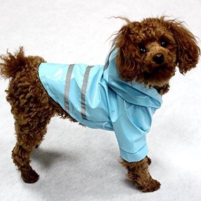 反射テープ付き犬用レインコート