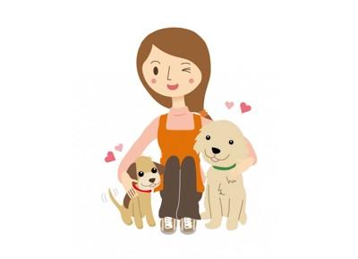 女性と2頭の犬(イラスト)