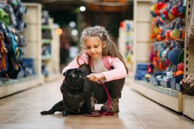 ペットショップの犬と少女
