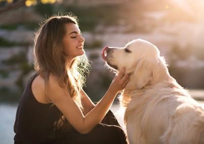 ゴールデンレトリバーと笑顔の女性