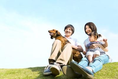 芝生でダックスフンドを抱いて休む家族