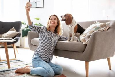 愛犬の写真を撮る女性