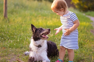 犬に話しかける小さな女の子