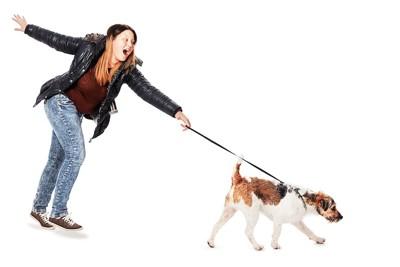 犬に引っ張られて驚く女性