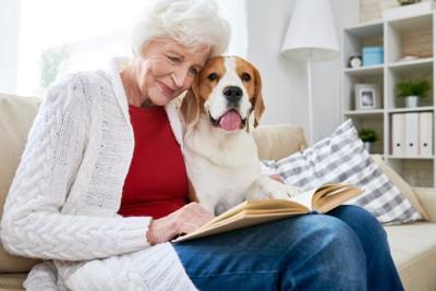 ソファーで本を読む高齢の女性に寄り添う犬