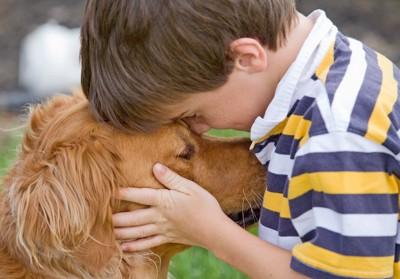 男の子にハグされている犬