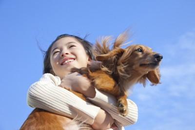 青空のもとで犬を抱きしめている女の子
