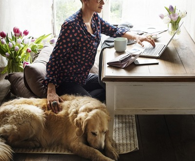 ホームオフィスで仕事をする女性と犬