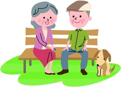 老夫婦と犬