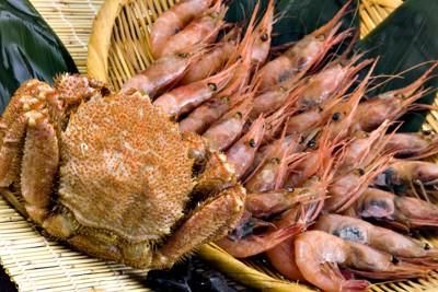 ザルに盛られた海老とカニ