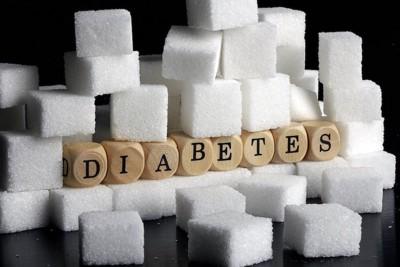 角砂糖と「糖尿病」の文字